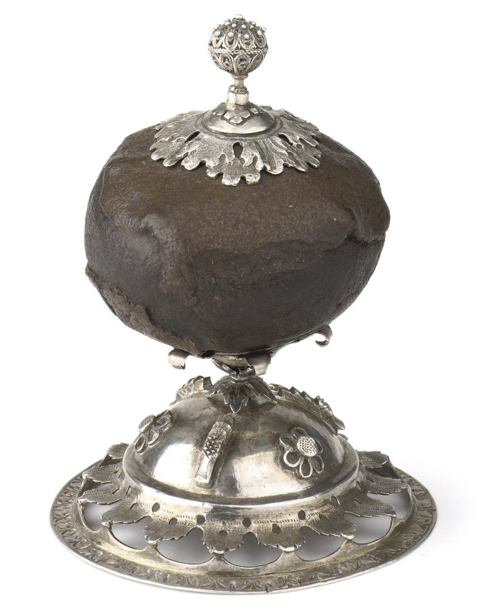 A silver-mounted bezoar stone