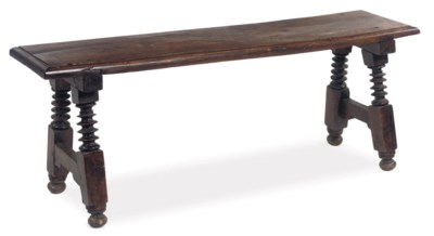 A Spanish walnut bench