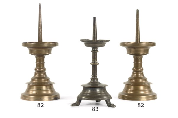 A BRASS PRICKET CANDLE STICK
