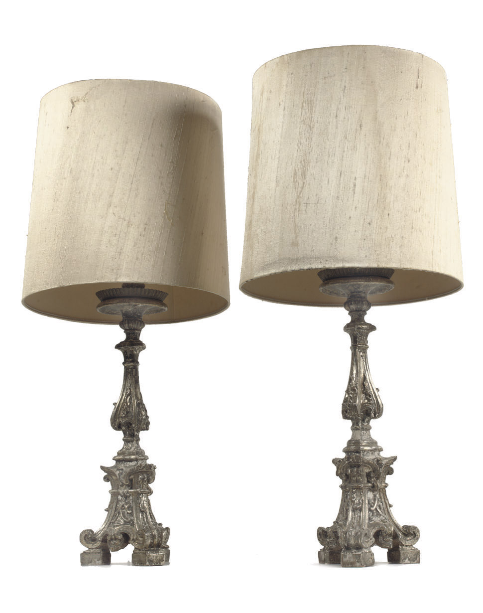 A pair of Italian silvered gil