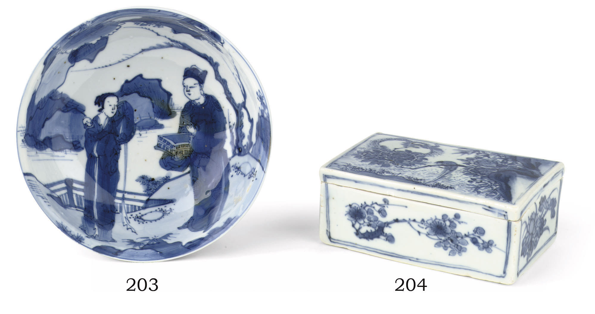 A Chinese blue and white recta