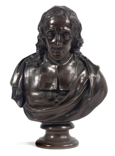 A French bronze bust of a card