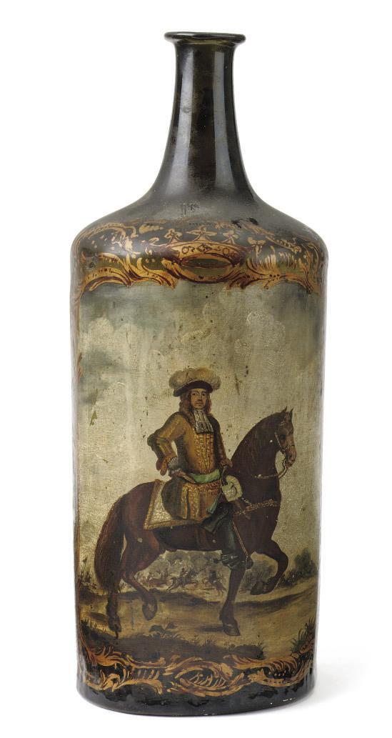 A Dutch painted glass half cyl