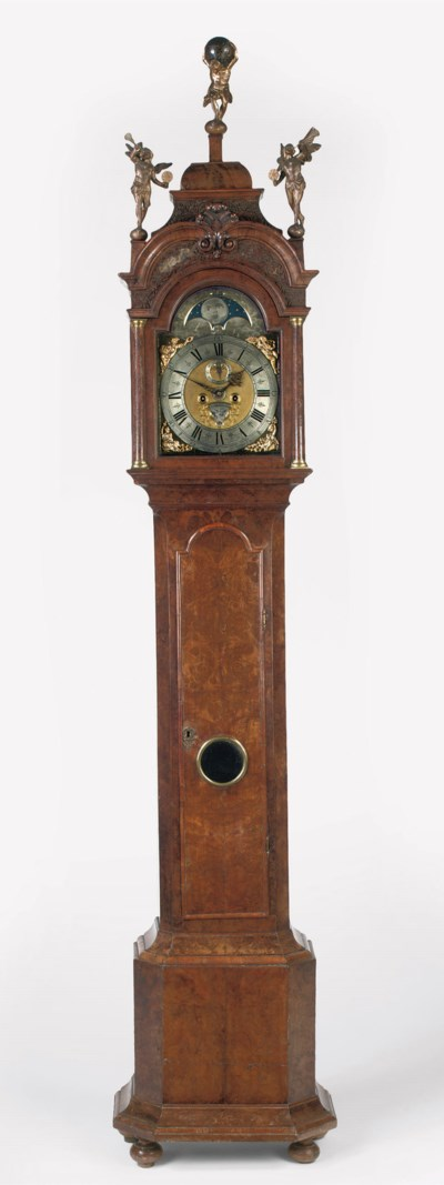 A DUTCH BURR-WALNUT LONGCASE C