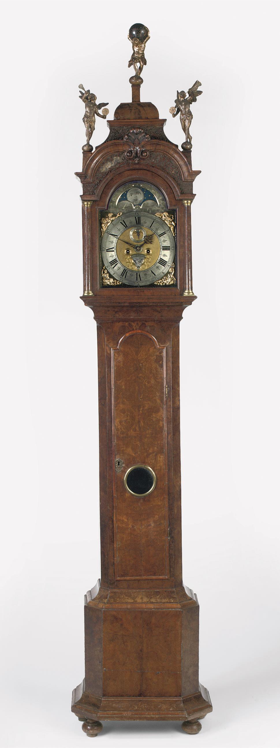 A DUTCH BURR-WALNUT LONGCASE CLOCK