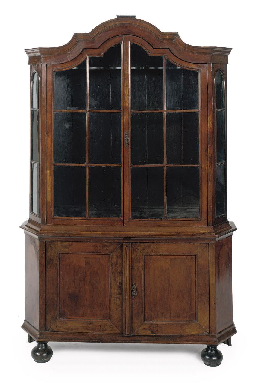 A Dutch walnut display case