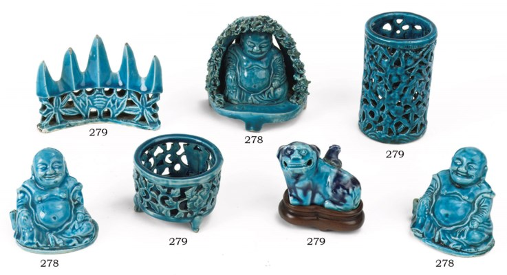 A pair and one Chinese turquoi