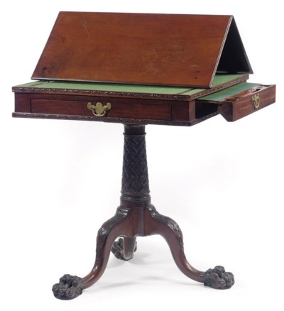 A GEORGE II MAHOGANY TRIPOD RE