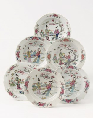 A set of six Chinese flower-sh