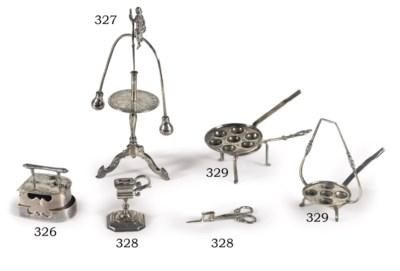 A Dutch silver miniature iron