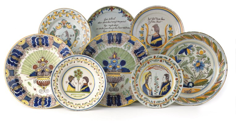 A group of eight Dutch Delft p