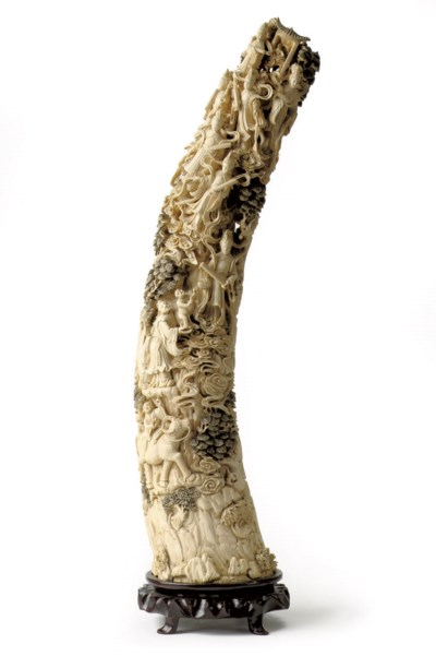 A large Chinese carved ivory t