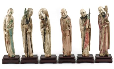 A Chinese group of six ivory I