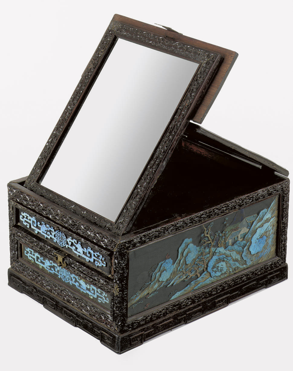 A Chinese wood toilet mirror b