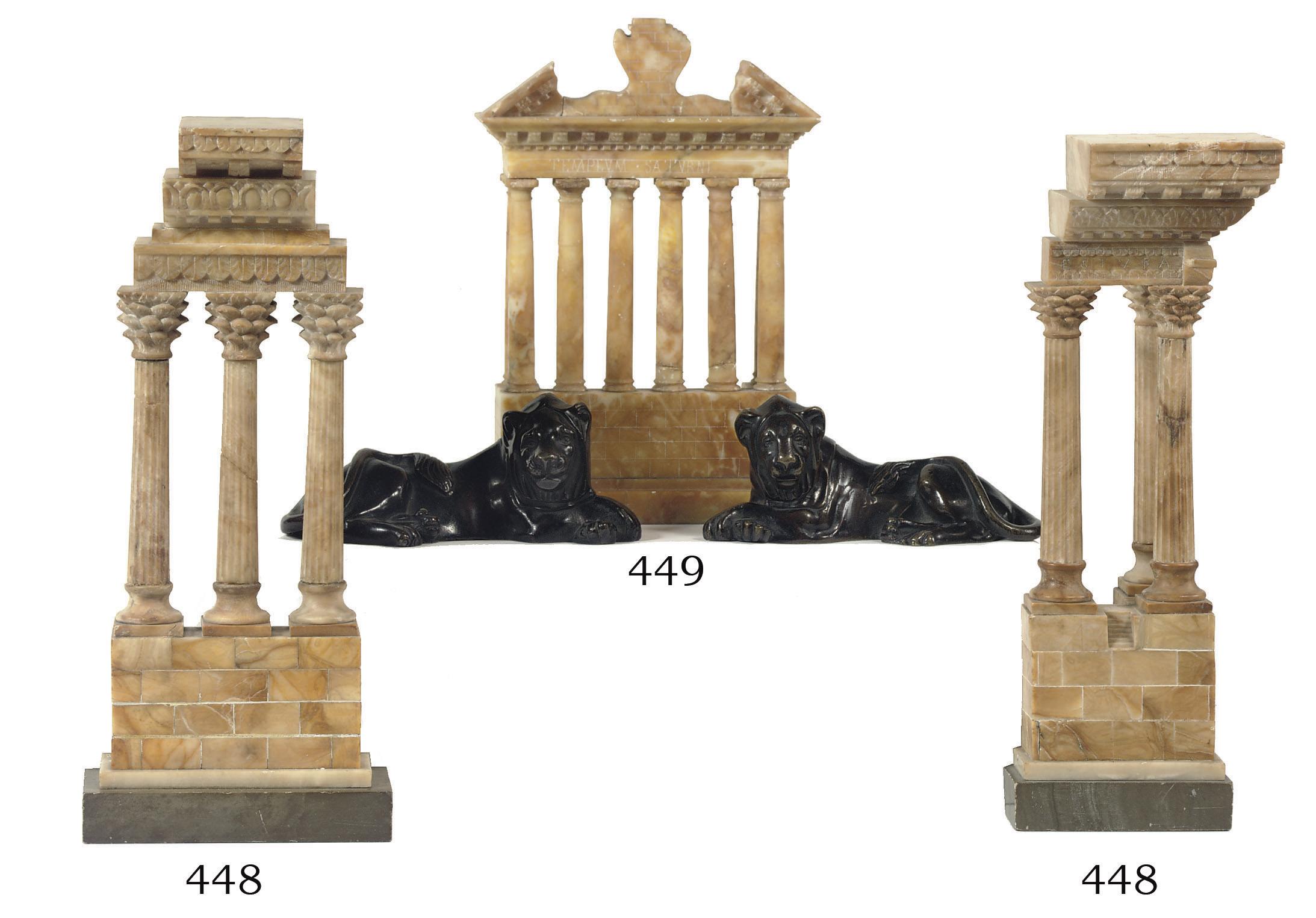 Three various Siena marble 'Gr