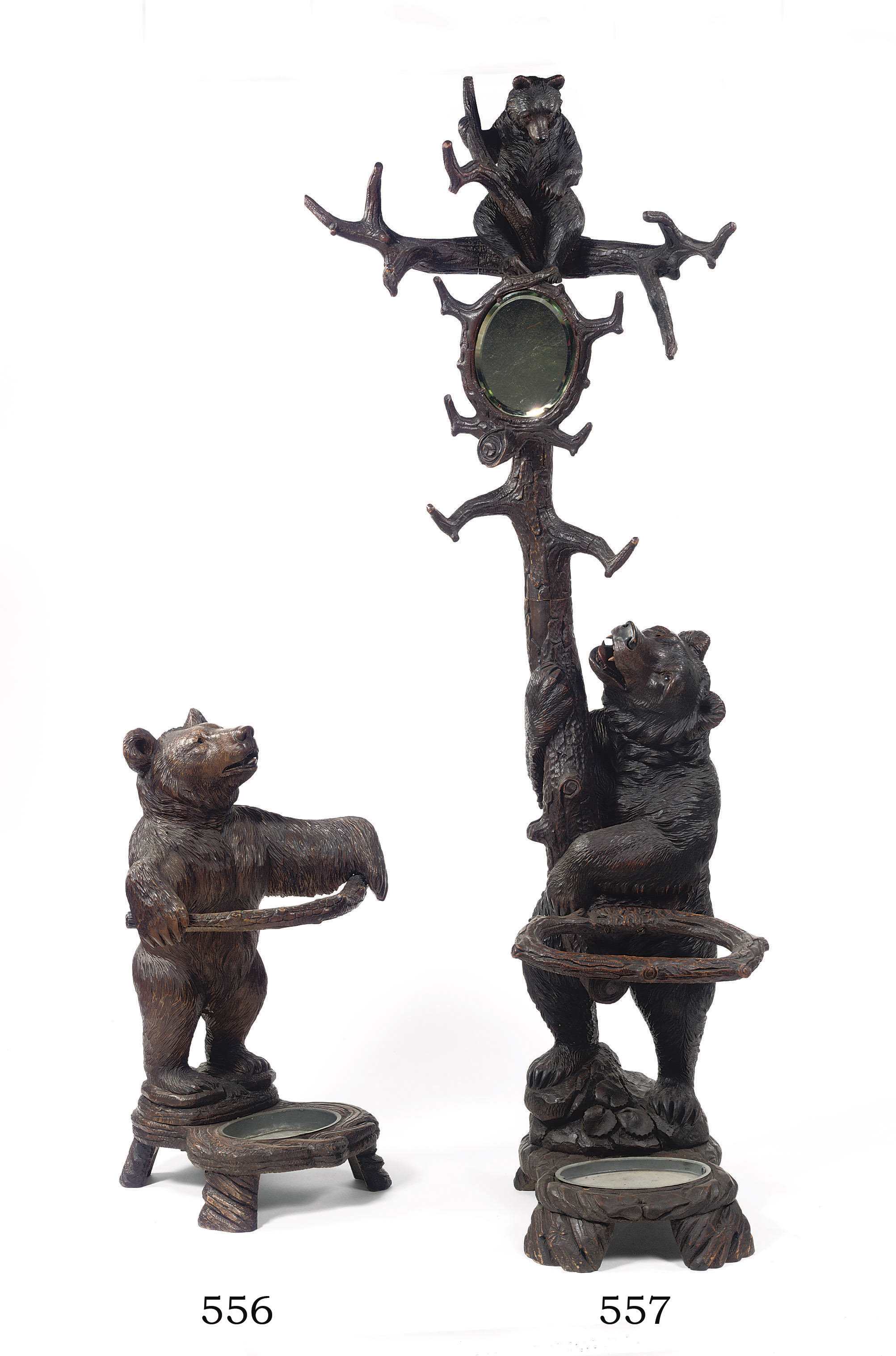 A Swiss Black Forest Carved Bear Umbrella Stand Late