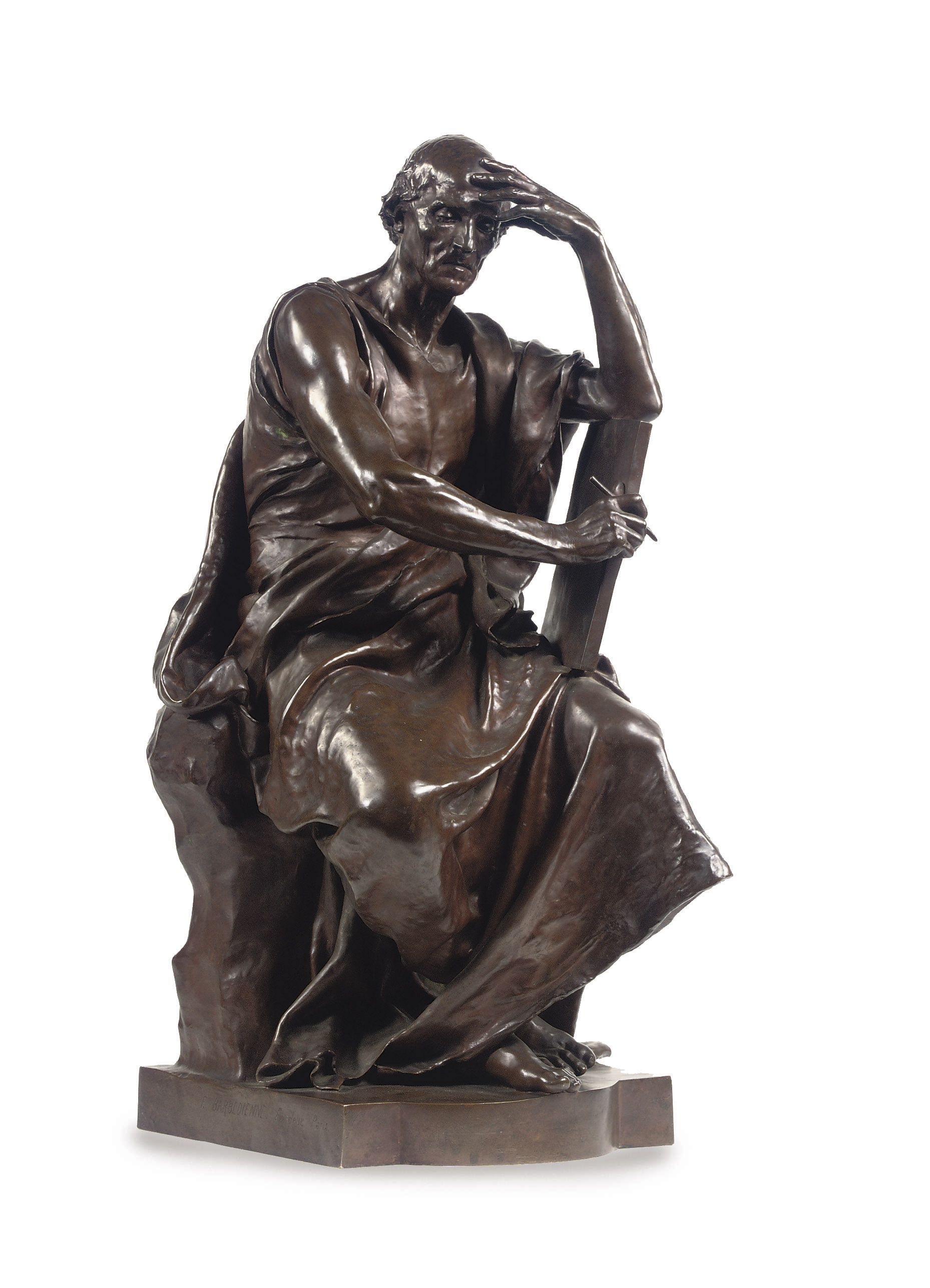 A FRENCH BRONZE FIGURE ENTITLED ÉTUDE ET MÉDITATION (EDUCATION AND THOUGHT)