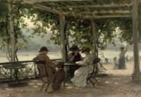 On a terrace under a pergola near the river Rhine, Cochum