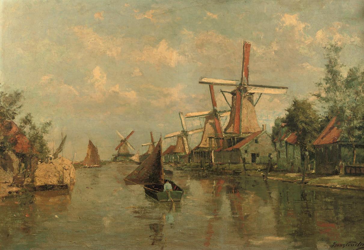 Zicht op de Zaan: mills along the river Zaan