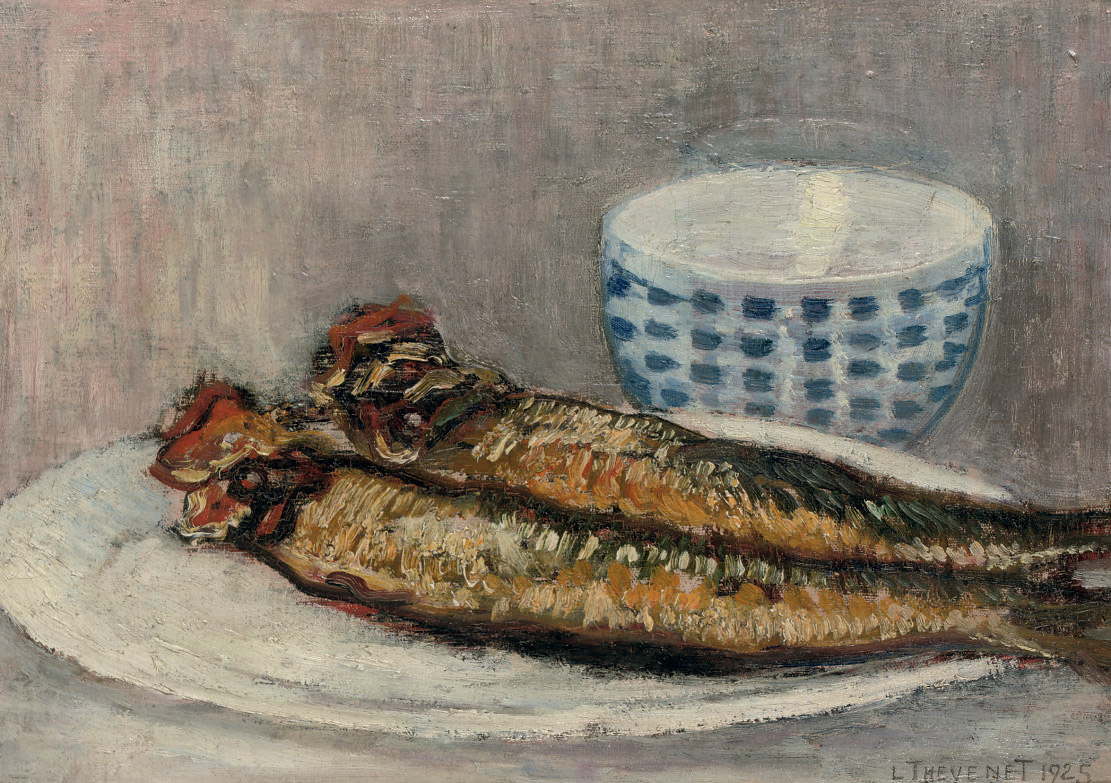 Les Harengs: a still life with herrings and a bowl