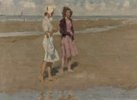 Two girls on the beach (recto); study of a building (verso)