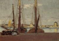 Camaret: moored vessels in the harbour of Camaret-Sur-Mer, France