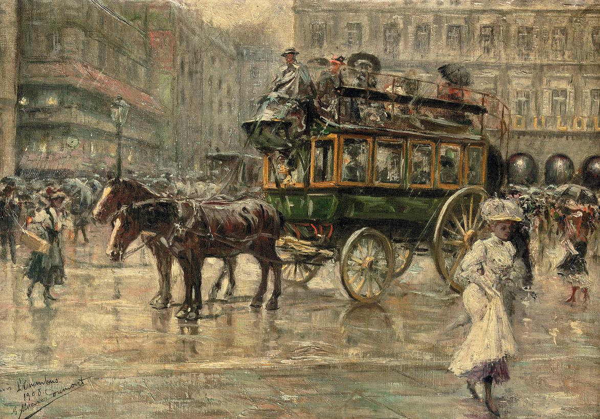 L'Omnibus: a busy town square, Paris