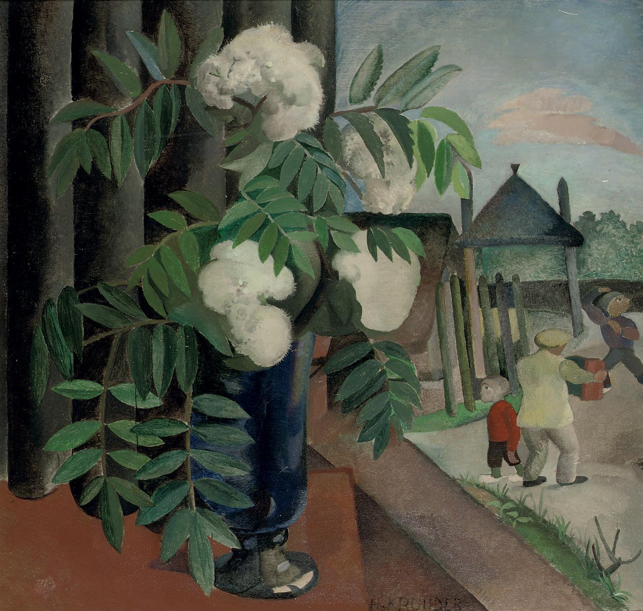 Lijsterbes bij het open raam: mountain-ash in a blue vase