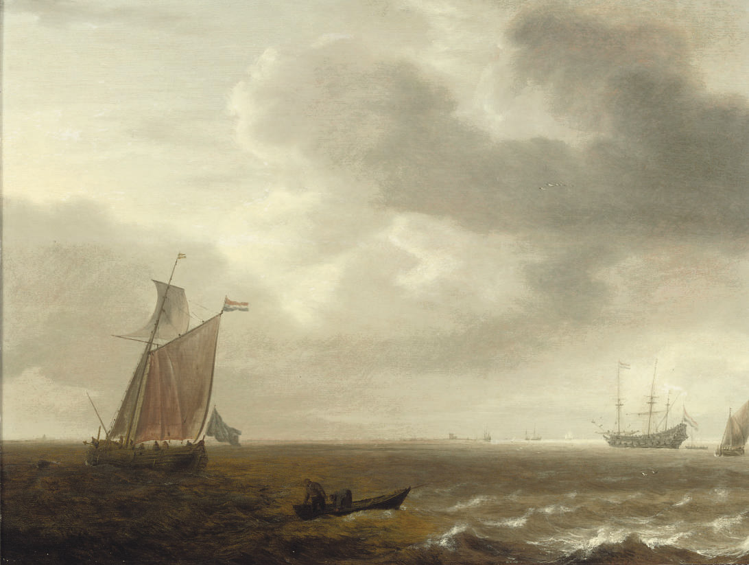 A 'wijdschip' weighing anchor, fishermen drawing in their nets in the foreground, a three-master and other shipping beyond