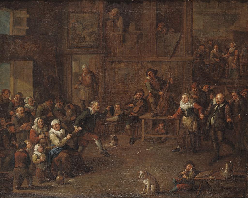 A peasant feast in a barn interior