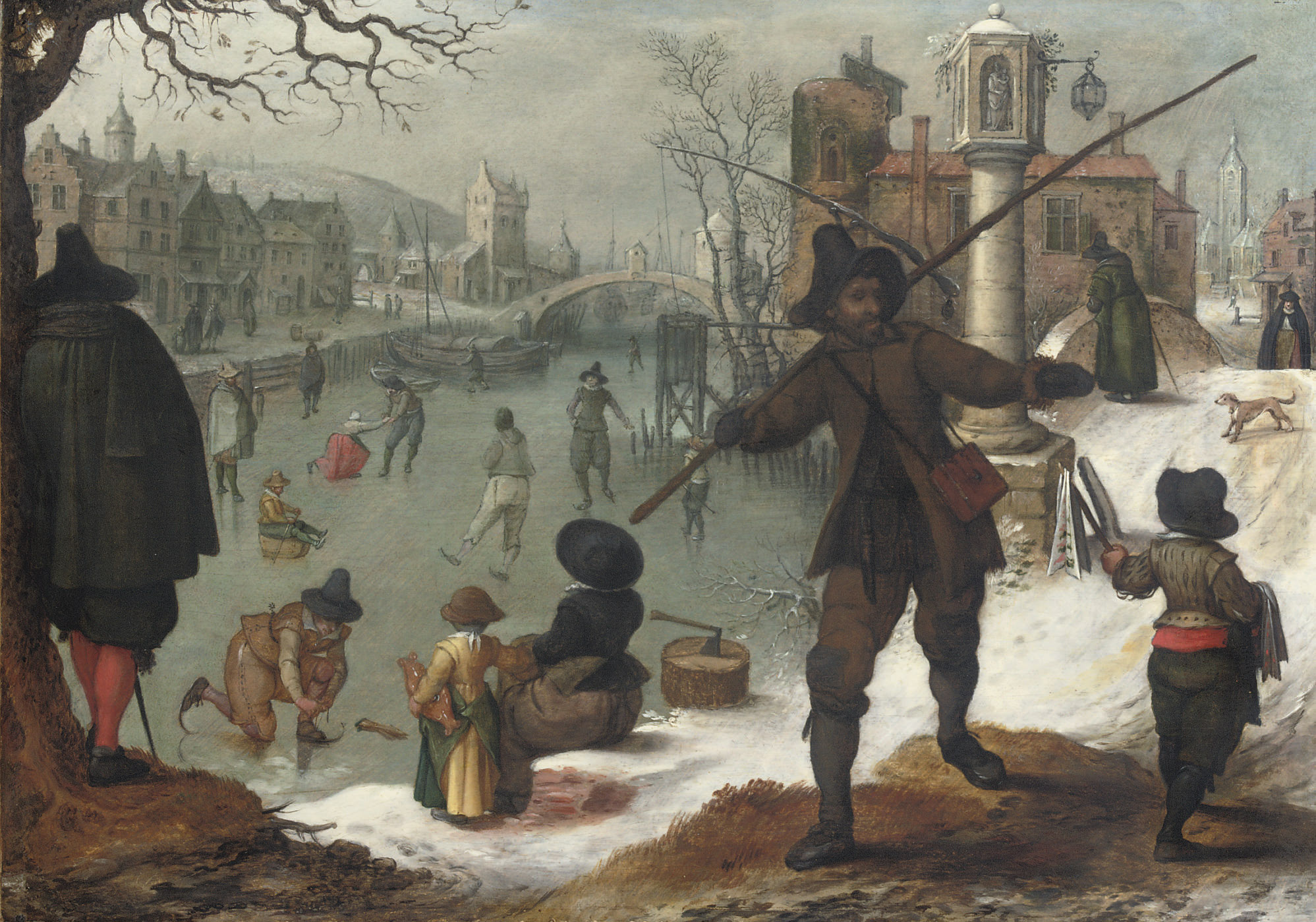 Skaters on a frozen waterway in a town