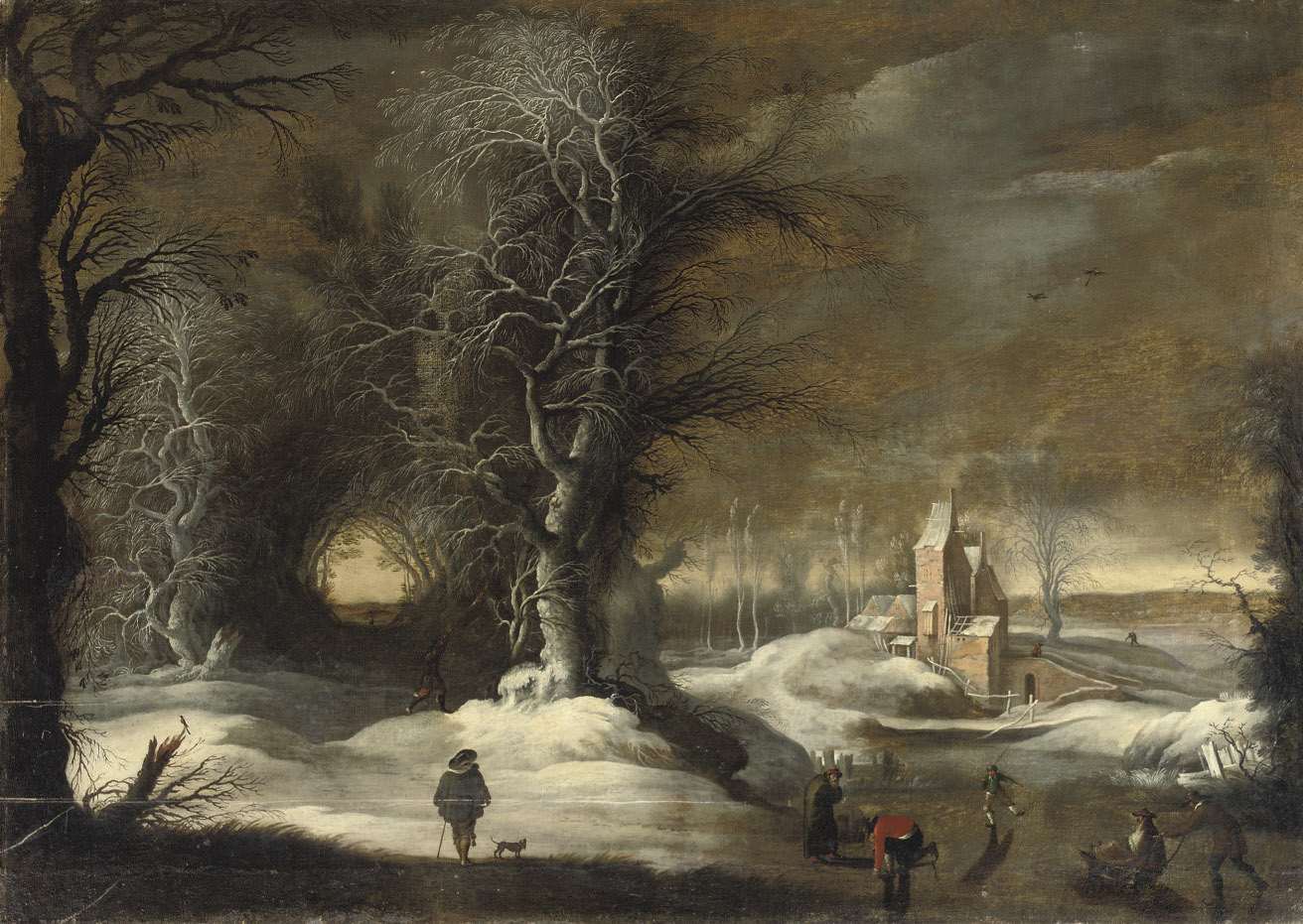 A winter landscape with figures sleighing and skating