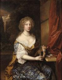 Portrait of a lady, three-quarter-length, in a dark blue dress, holding a flower wreath