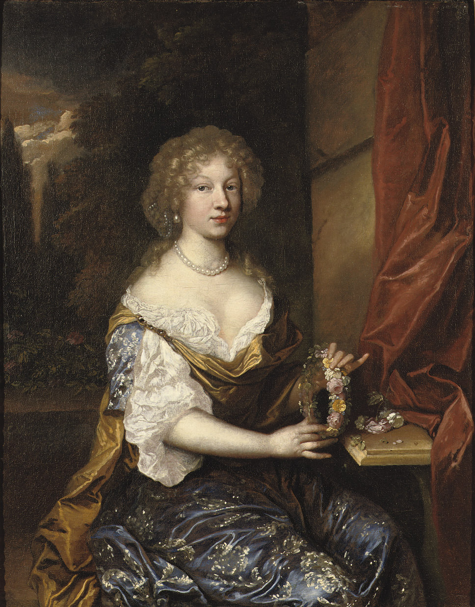 Portrait of a lady, three-quarter-length, in a dark blue dress, holding a flower wreath