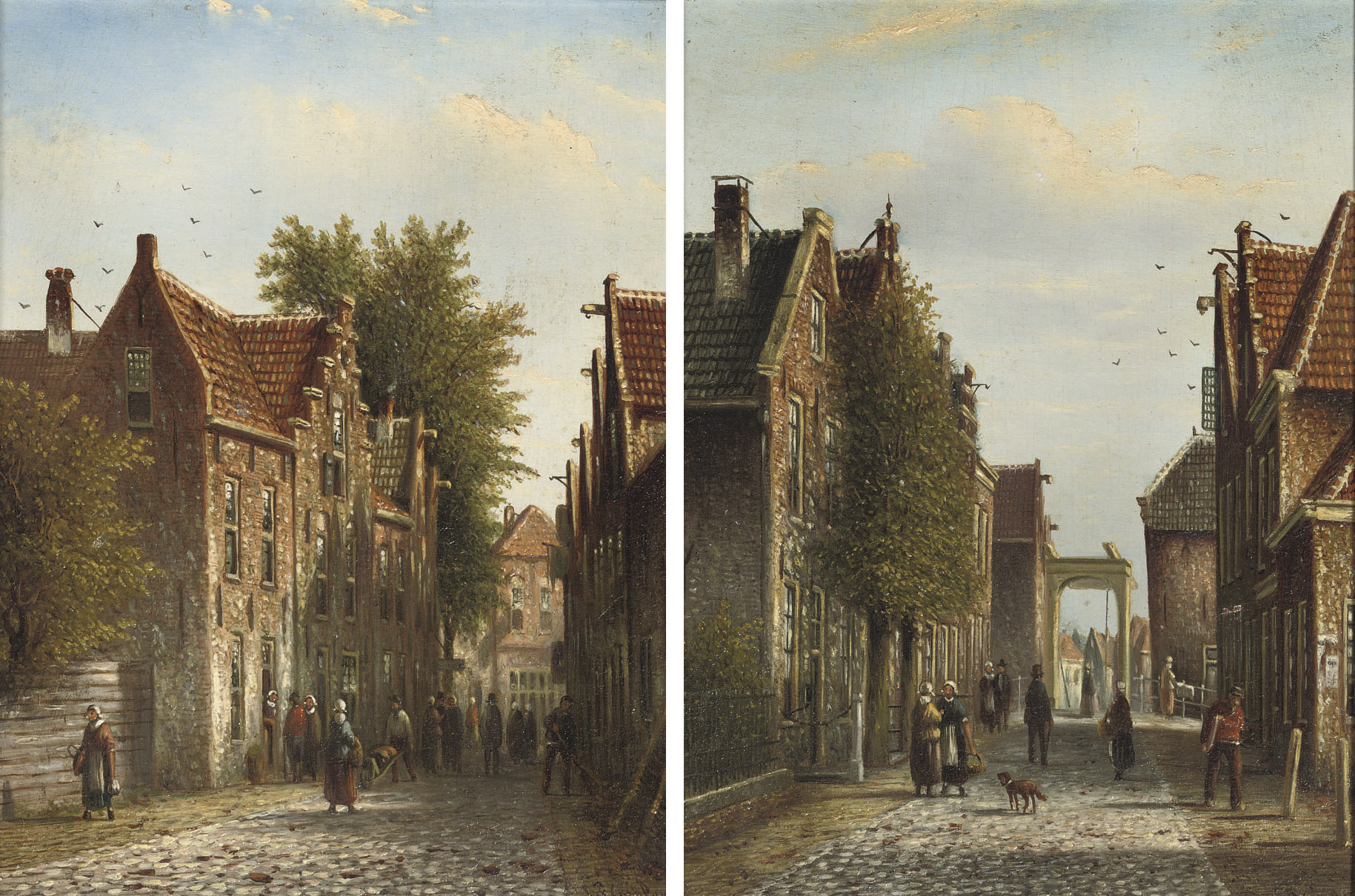 Dutch street scenes with numerous figures
