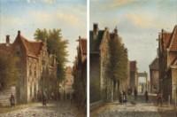 Dutch street scenes with numerous figures