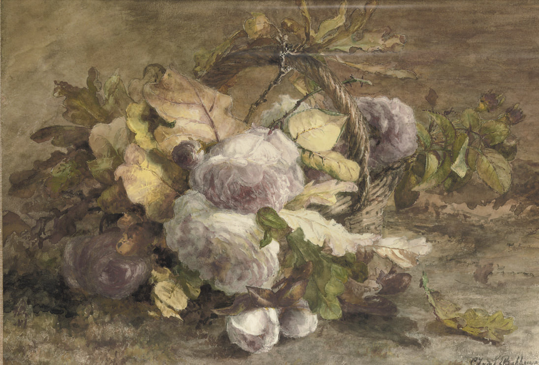 Roses in a basket on a forest floor