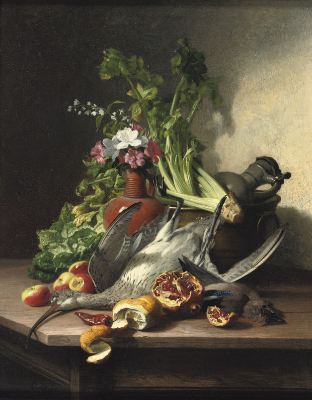 A woodcock, a jay, vegetables, fruit, flowers, a copper cauldron and earthenware jugs