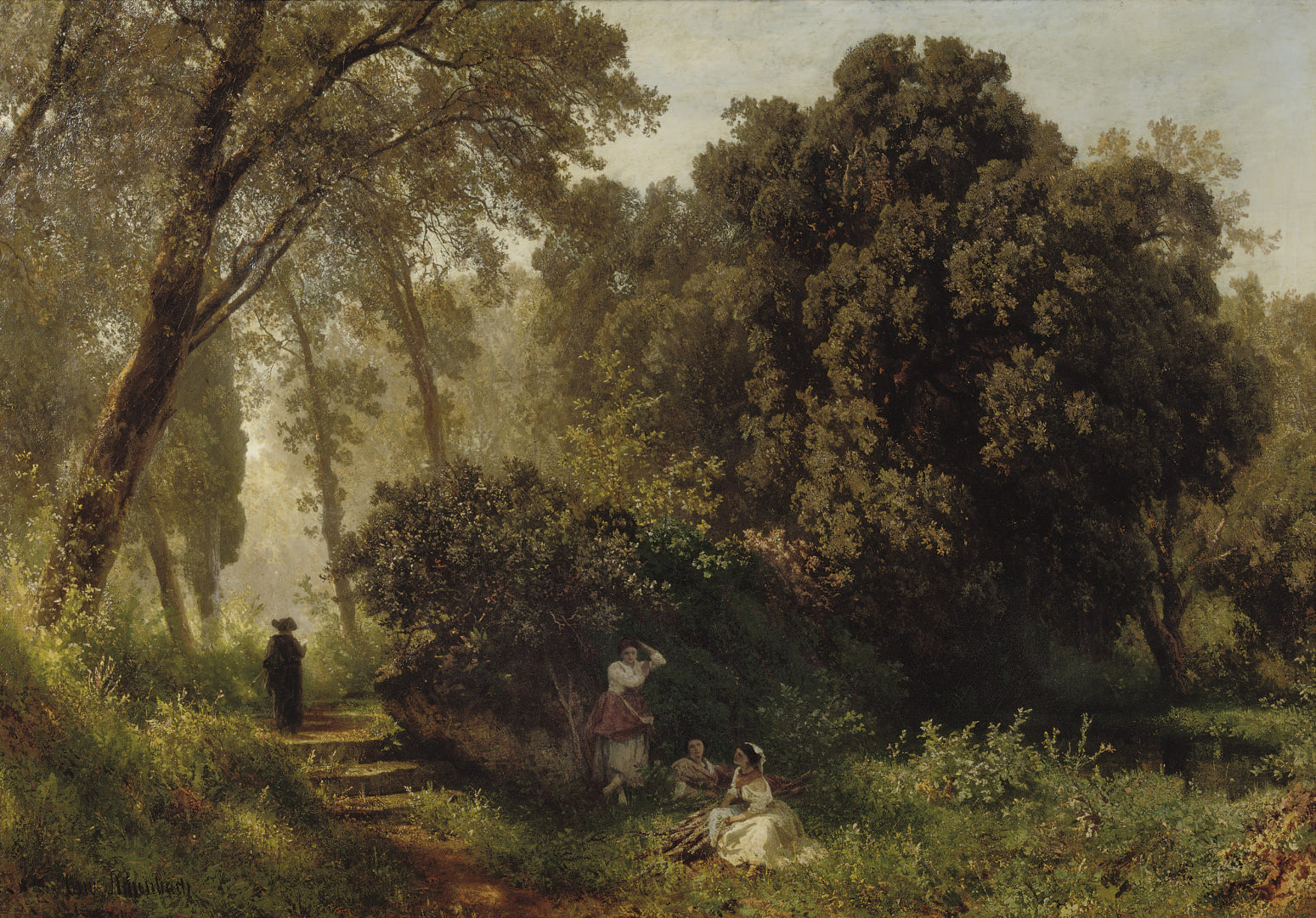 Young woman resting on a sunlit path