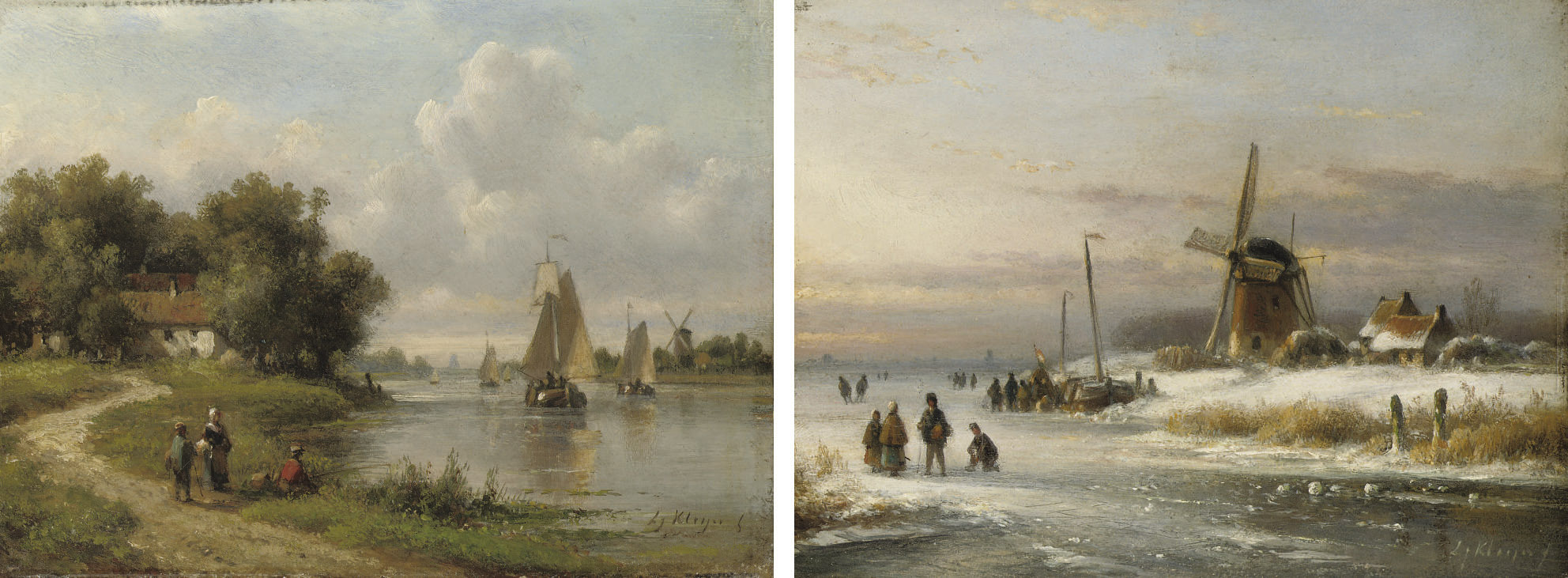 Skaters on the ice near a windmill; and Fishing by the river in summer
