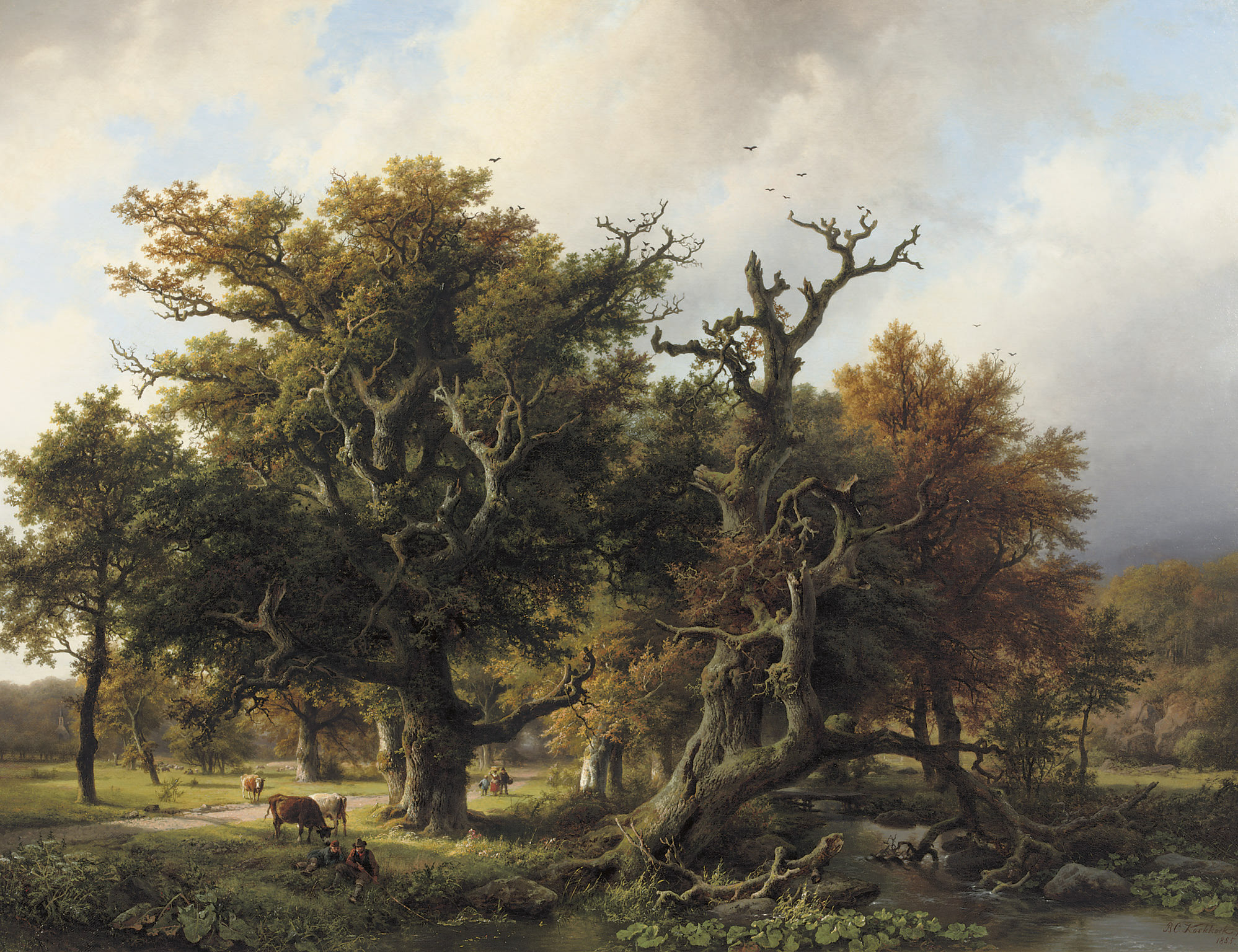 A wooded landscape with an angler and cattle grazing