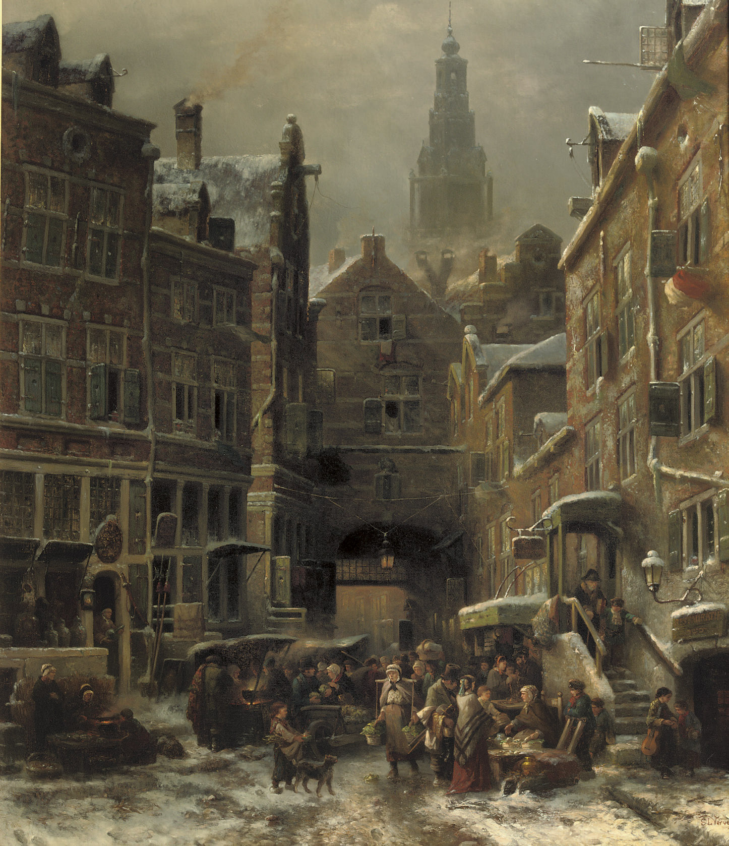De winter in het Jodenkwartier te Amsterdam: the Jewish quarter in winter with the Zuiderkerk beyond, Amsterdam