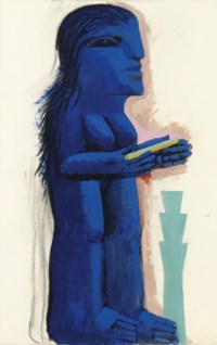 Blaue weibliche figur