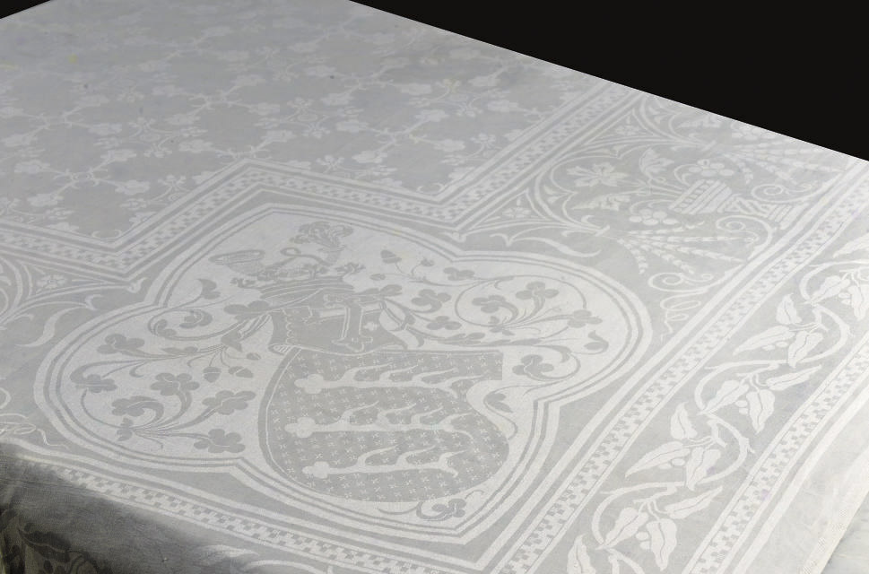 TWO DAMASK TABLE CLOTHS WITH T
