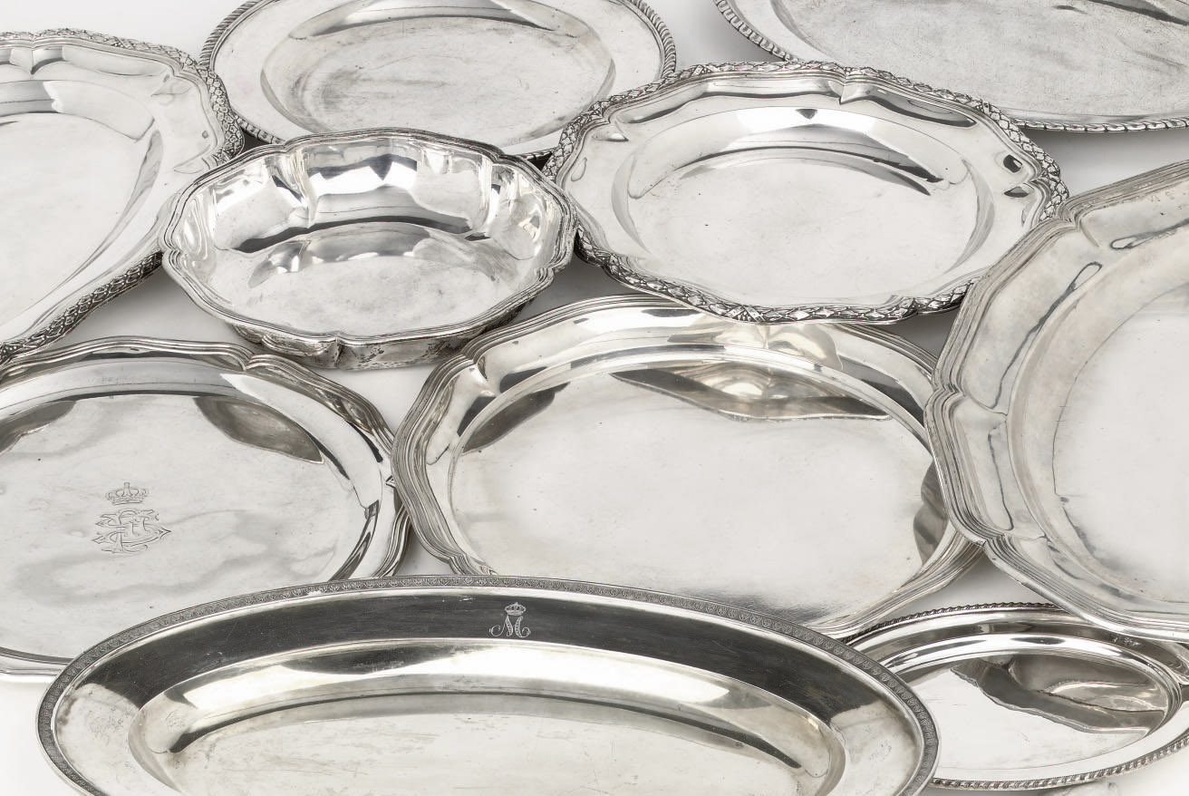 A group of silver serving dish