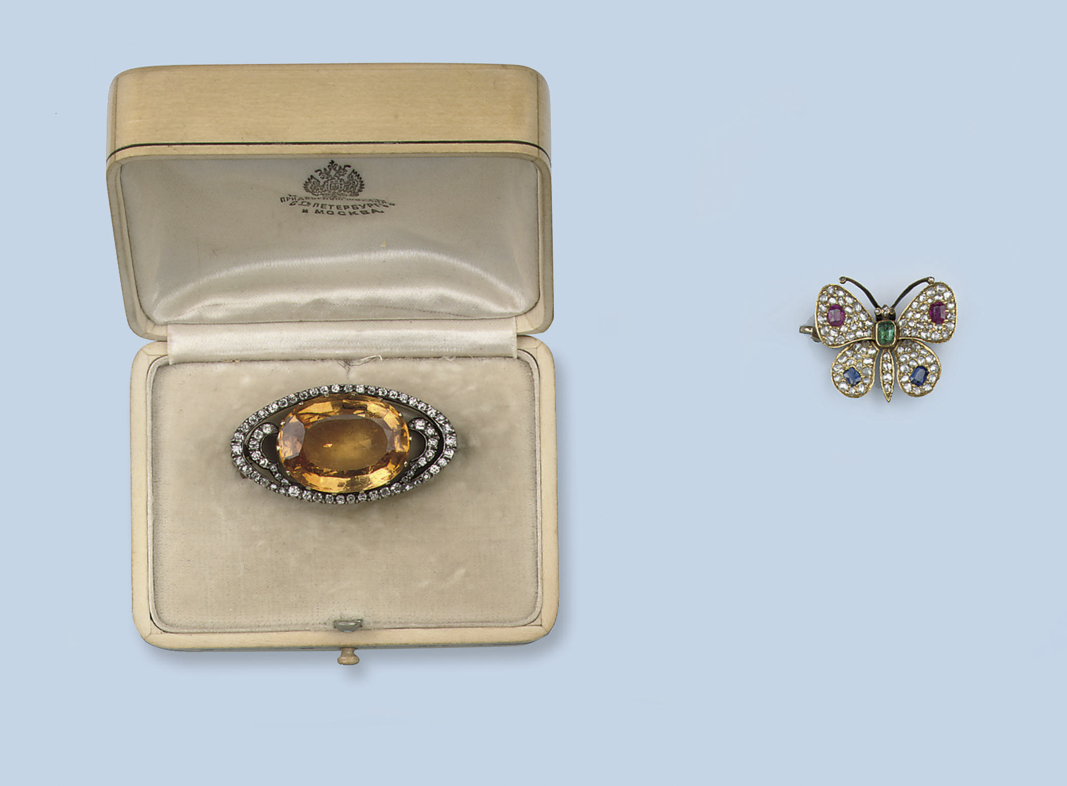 TWO GEM SET AND DIAMOND BROOCH