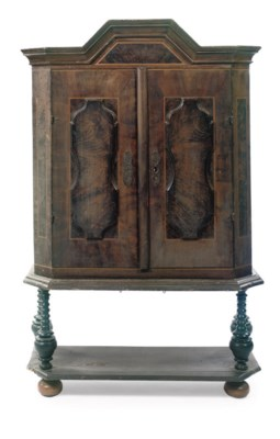 A GERMAN GRAINED WOOD CABINET