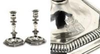 A pair of Dutch silver candlesticks
