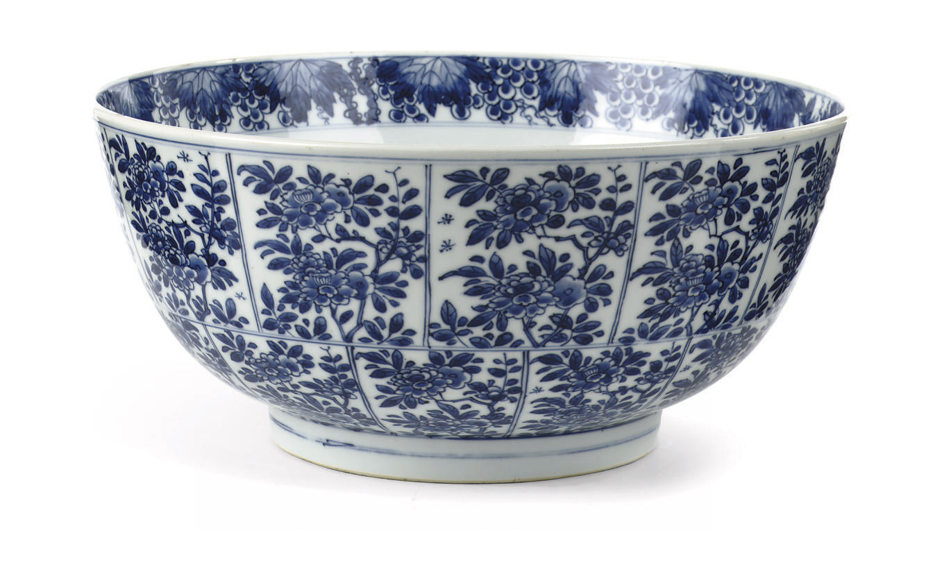 A large Chinese blue and white bowl