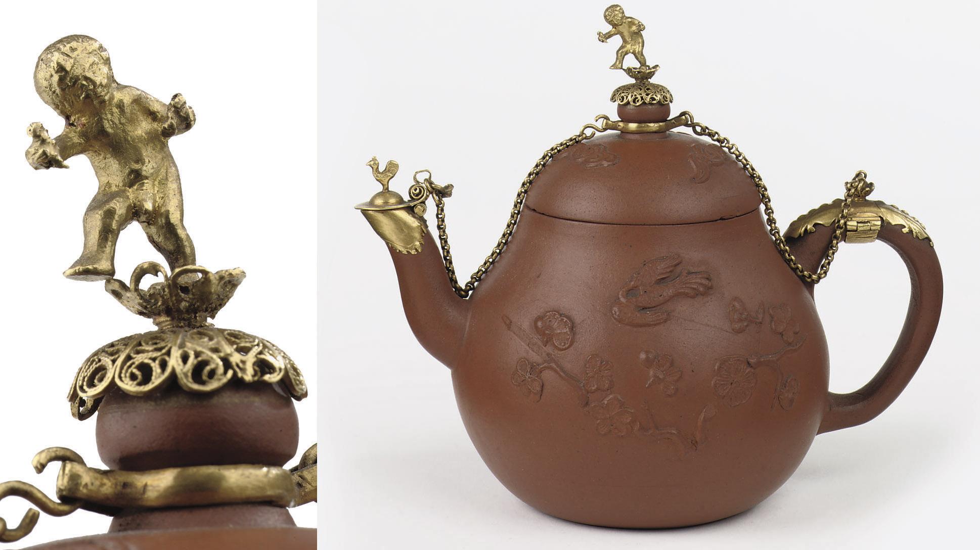 A Chinese Yixing stoneware gol